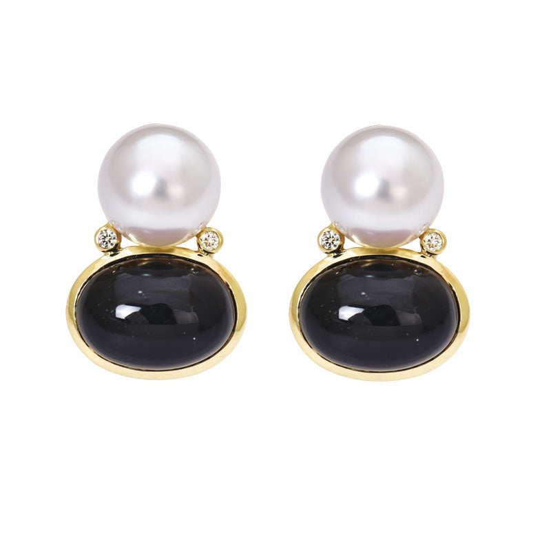Earrings- Black Onyx, South Sea Pearl and Diamond