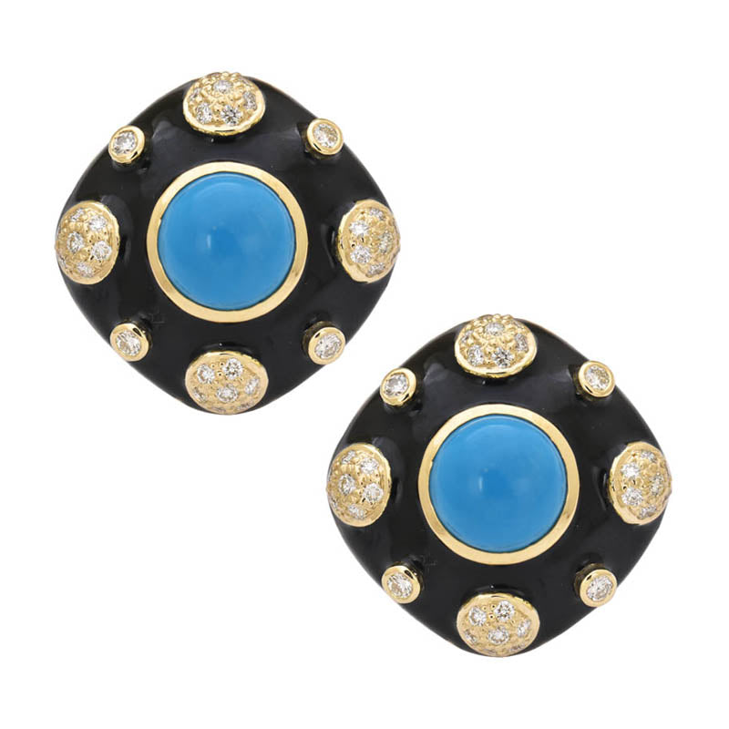Earrings- Synthetic Turquoise and Diamond (Enamel)