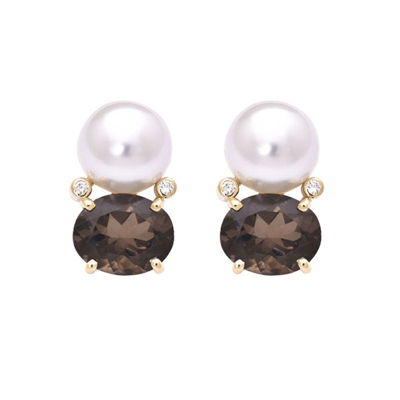 Earrings- Smokey Quartz, South Sea Pearl and Diamond