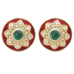 Earrings- Emerald and Diamond (Enamel)