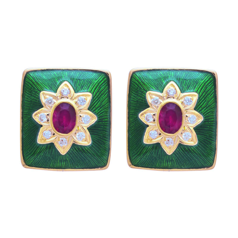 Earrings- Ruby and Diamond (Enamel)