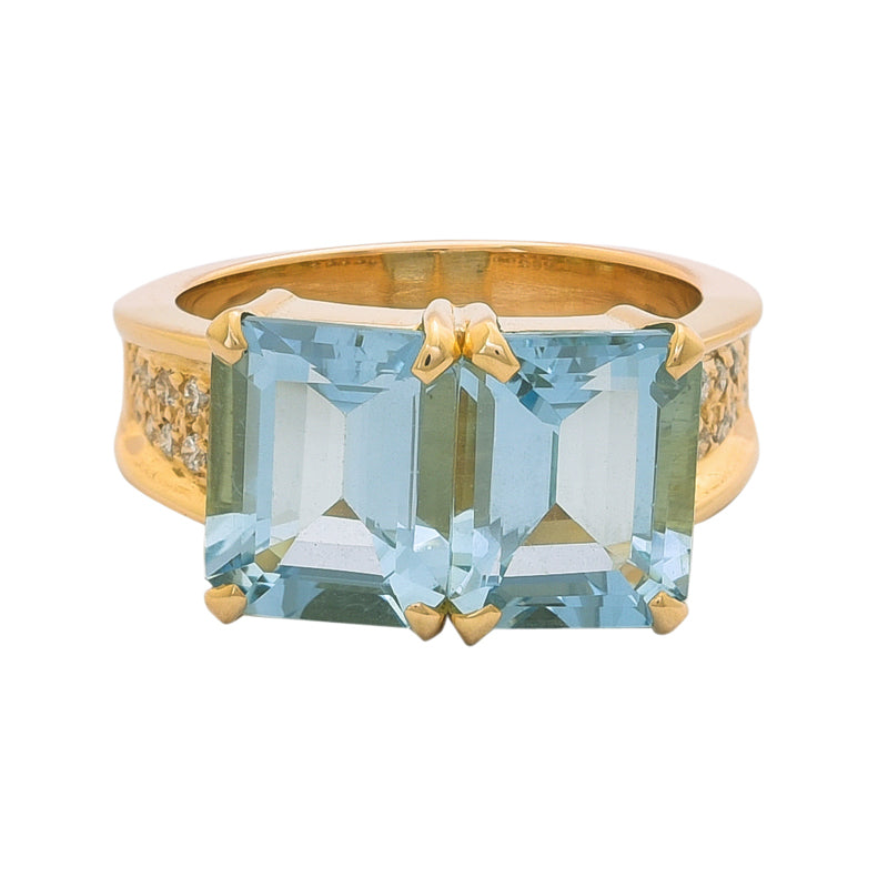 Ring- Aquamarine and Diamond
