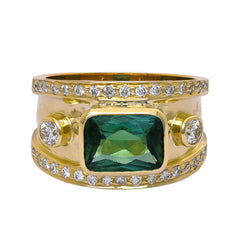 Ring- Green Tourmaline and Diamond