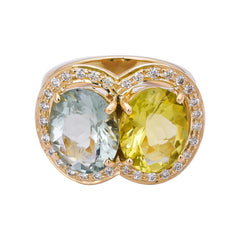 Ring- Lemon Quartz, Green Quartz and Diamond