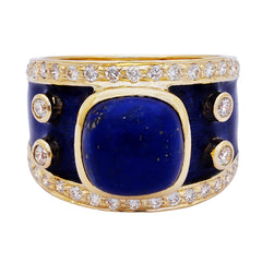 Ring- Lapis Lazuli and Diamond (Enamel)