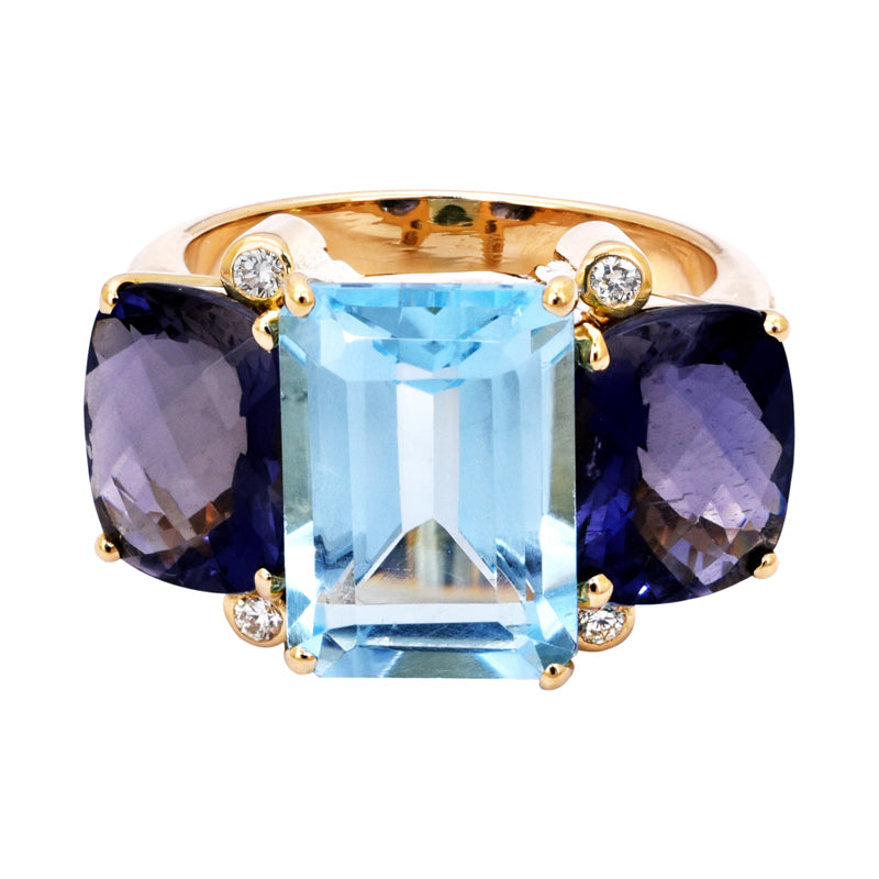 Ring- Blue Topaz, Iolite and Diamond