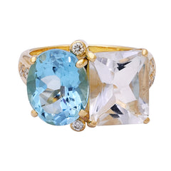 Ring- Crystal, Blue Topaz and Diamond