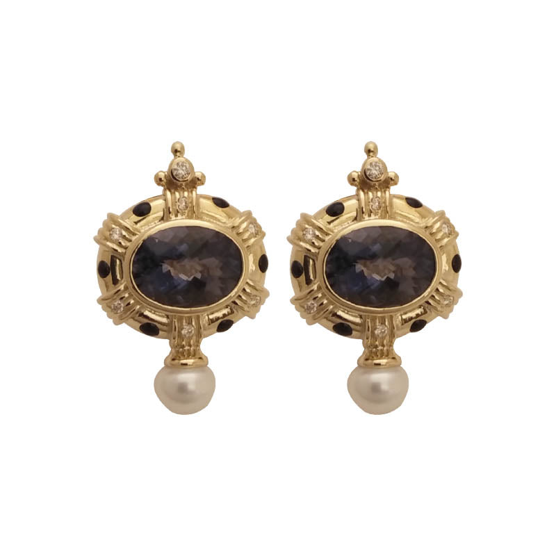 EARRINGS- IOLITE, PEARL AND DIAMOND (ENAMEL)