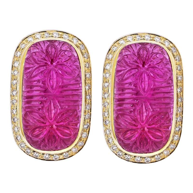 Earrings- Rubellite and Diamond