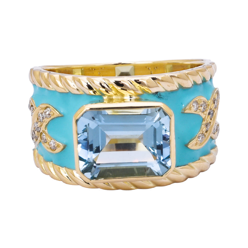 Ring- Aquamarine and Diamond (Enamel)