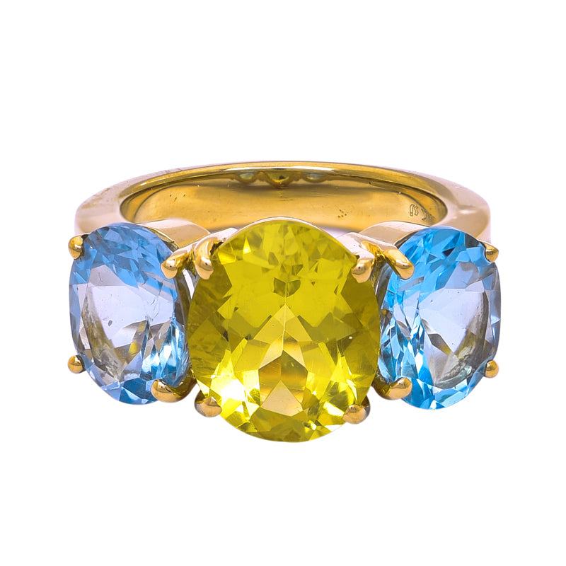 Ring- Lemon Quartz, Blue Topaz and Diamond