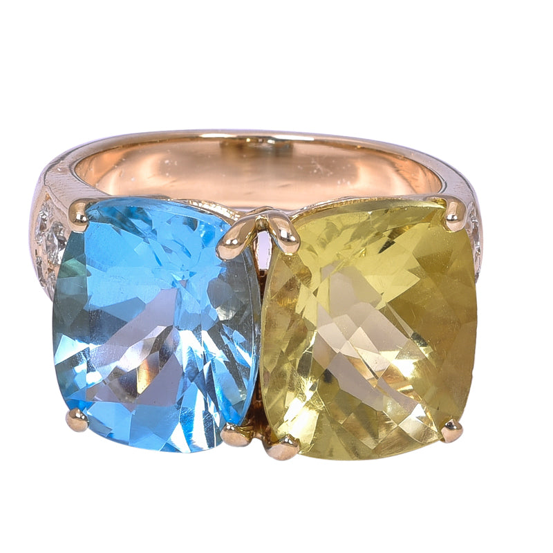 Ring- Blue Topaz, Lemon Quartz and Diamond