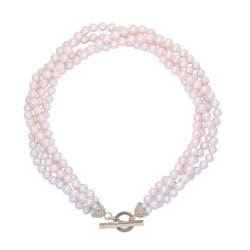 Neck-Beads- Pearl Beads with 18K Gold and Diamond Toggle