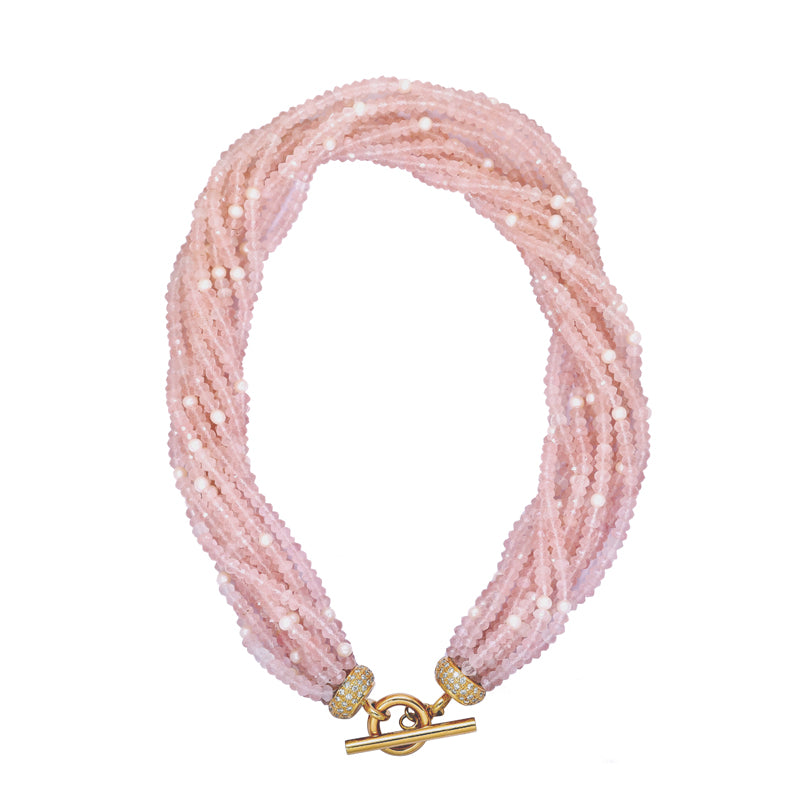 Neck-Beads - Rose Quartz & F.W. Pearl Beads with 18k Gold and Diamond Toggle