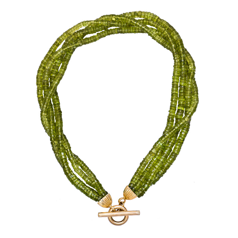 Neck-Beads- Peridot Beads with 18K Gold and Diamond Toggle