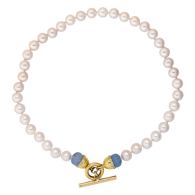 Neckbeads- Pearl Beads with Chalcedony and Diamond Toggle