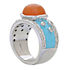 Ring-Cornelian and Diamond (Enamel)