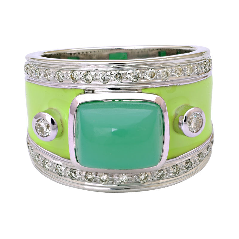 Ring-Chrysoprase and Diamond (Enamel)