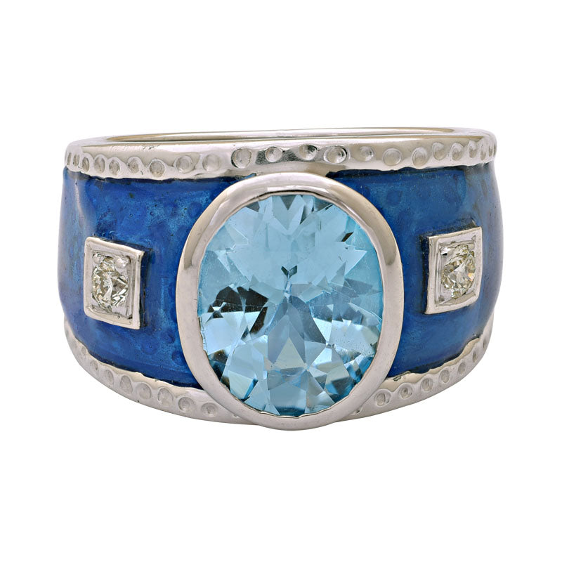 Ring-Blue Topaz and Diamond (Enamel)