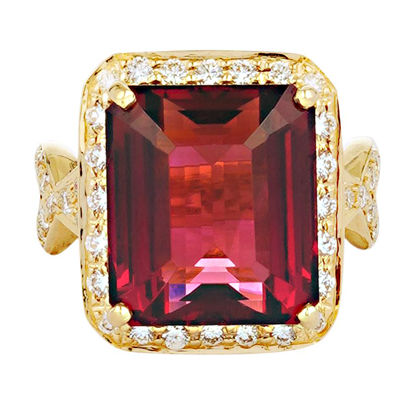 Ring - Pink Tourmaline and Diamond