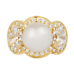 Ring - South Sea Pearl And Cubic Zirconia