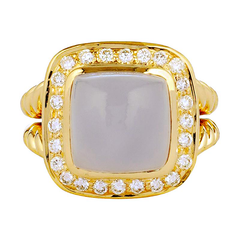 Ring - Chalcedony and Diamond