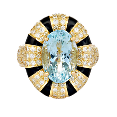 Ring - Aquamarine and Diamond (Enamel)