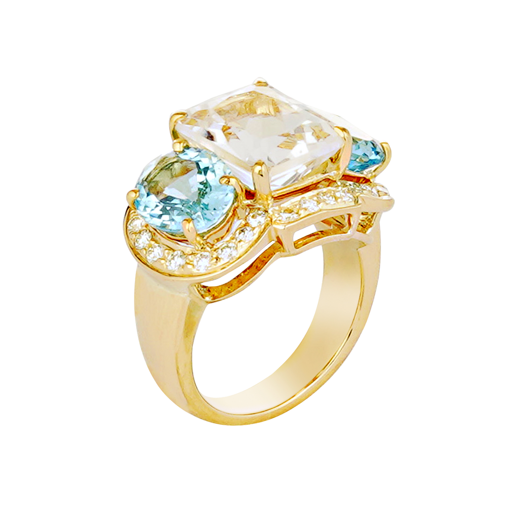 Ring - Crystal, Aquamarine and Diamond