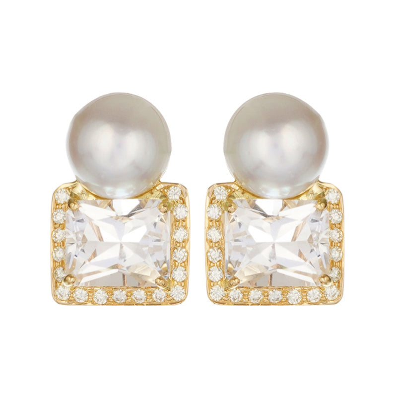 Earrings - Crystal, Diamonds & South Sea Pearl