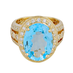 Ring - Blue Topaz and Diamond