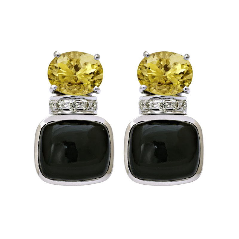 Earrings-Lemon Quartz, Black Onyx and Diamond