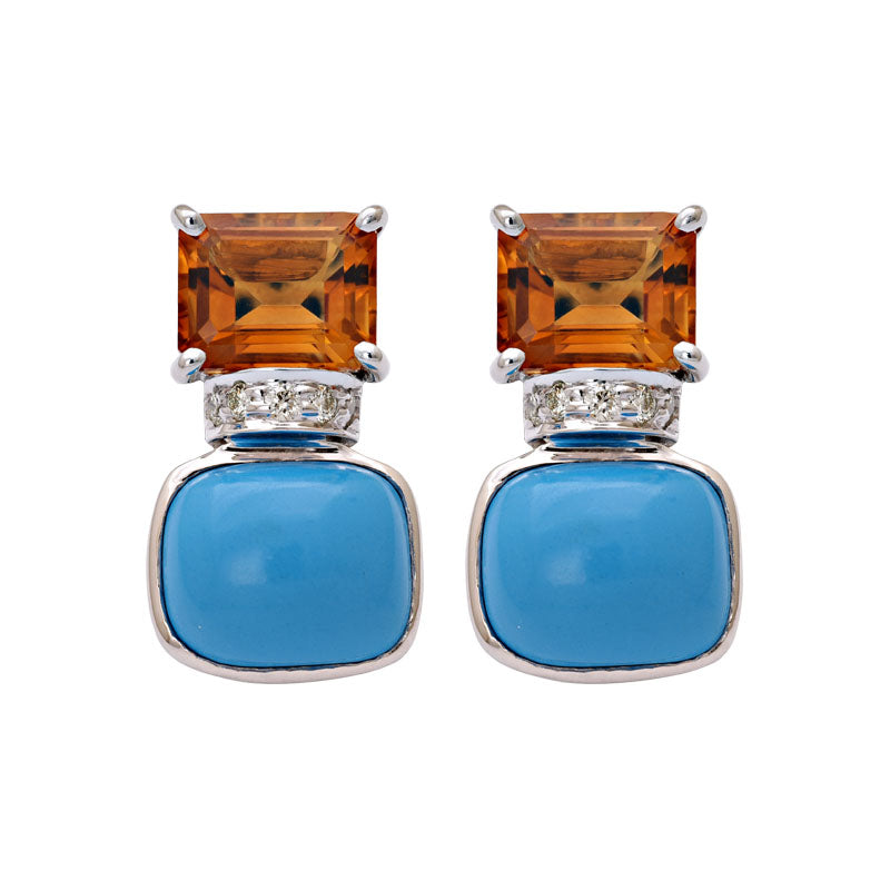 Earrings-Citrine, Turquoise and Diamond