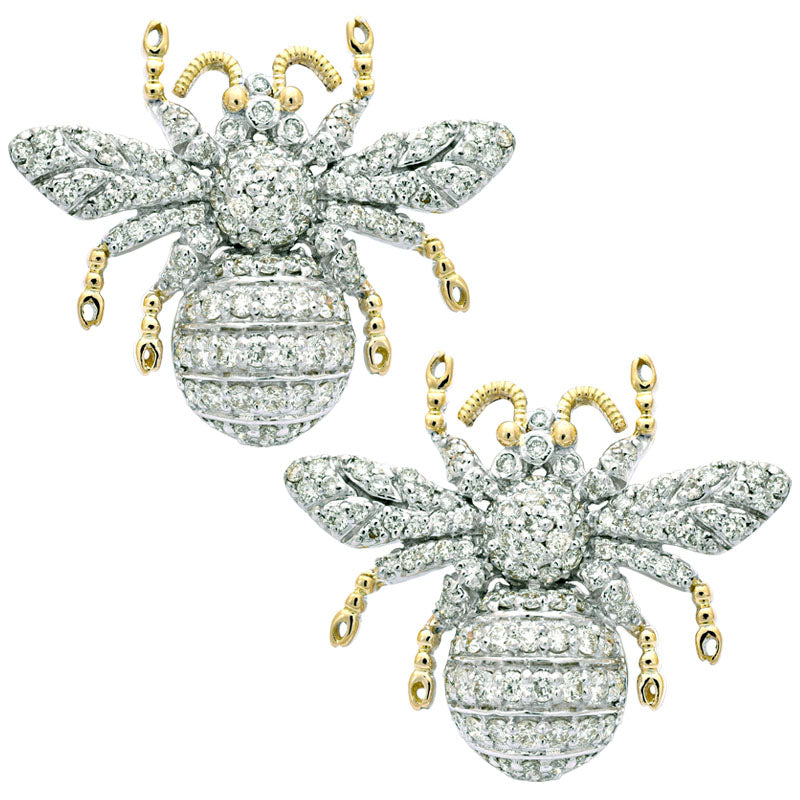 Earrings- Diamond in Sterling Silver and 18K Gold