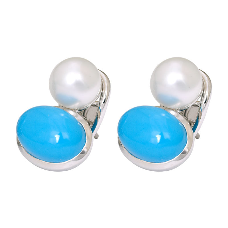 Earrings- Turquoise and South Sea Pearl
