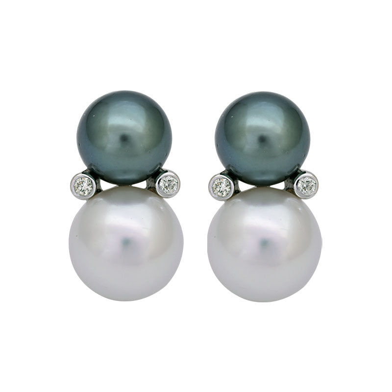 EARRINGS - SOUTH SEA PEARL AND DIAMOND IN STERLING SILVER