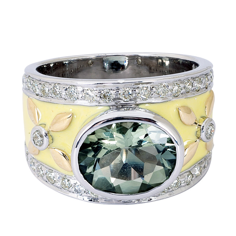 Ring- Green Quartz and Diamond (Enamel)