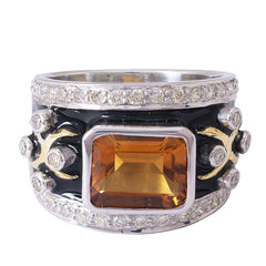 Ring- Citrine and Diamond (Enamel)