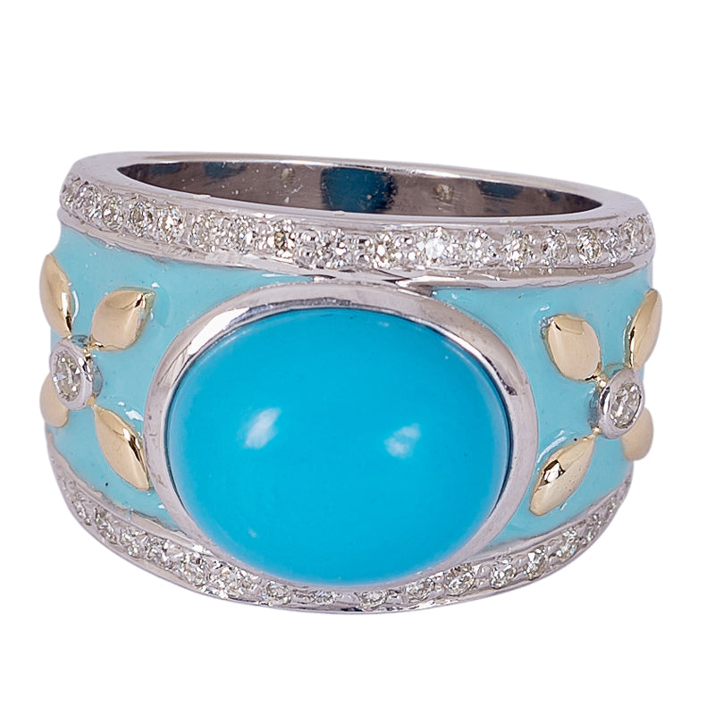 Ring- Turquoise and Diamond (Enamel)