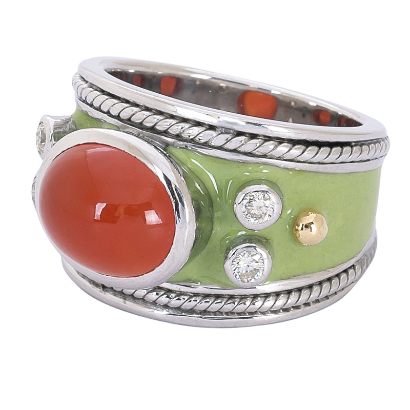 Ring- Cornelian and Diamond (Enamel)