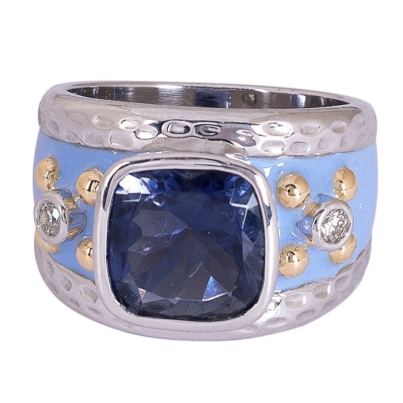 Ring- Iolite and Diamond (Enamel)