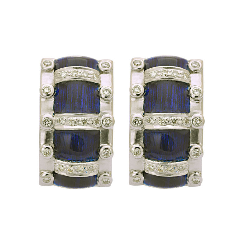 EARRINGS- DIAMOND (ENAMEL) IN SILVER