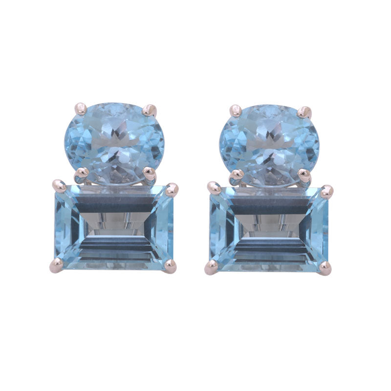 EARRINGS- BLUE TOPAZ IN SILVER