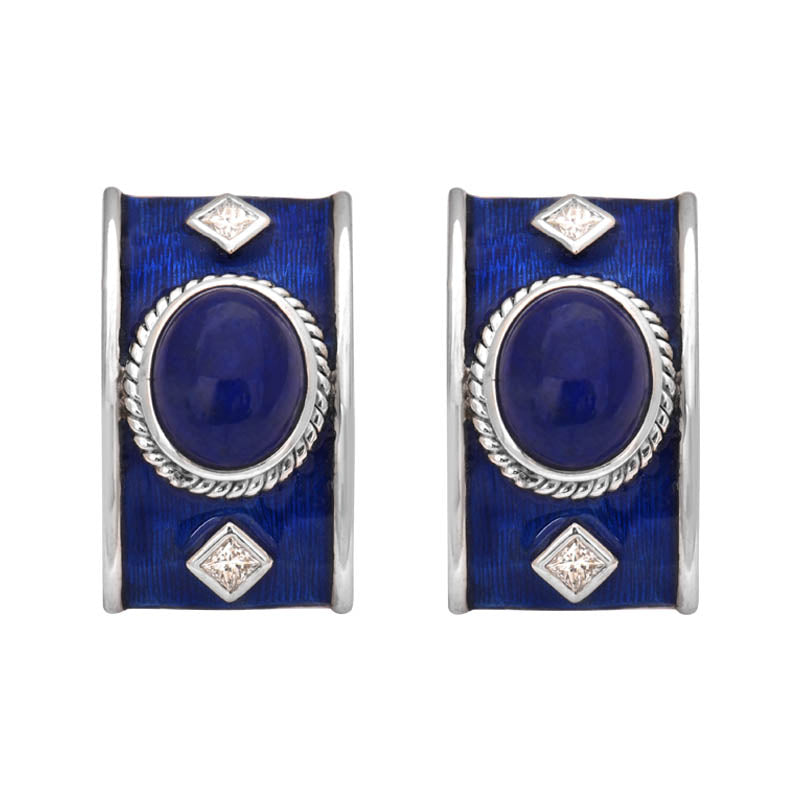 EARRINGS- LAPIS LAZULI AND DIAMOND (ENAMEL) IN SILVER