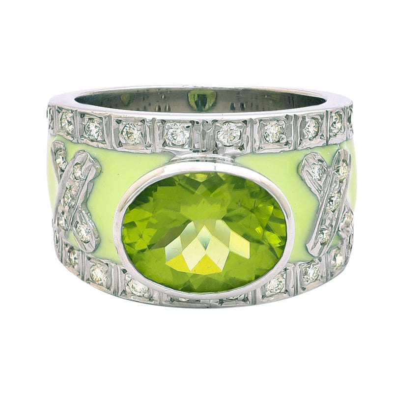 Ring- Peridot and Diamond (Enamel)