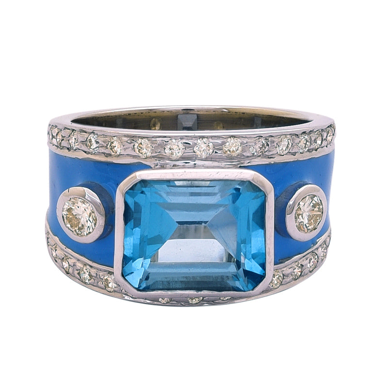 Ring- Blue Topaz and Diamond (Enamel)