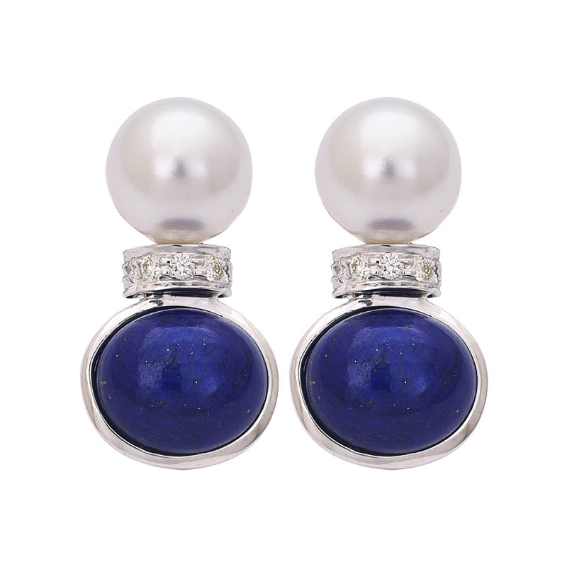 EARRINGS- LAPIS LAZULI, S.S. PEARL AND DIAMOND IN STERLING SILVER