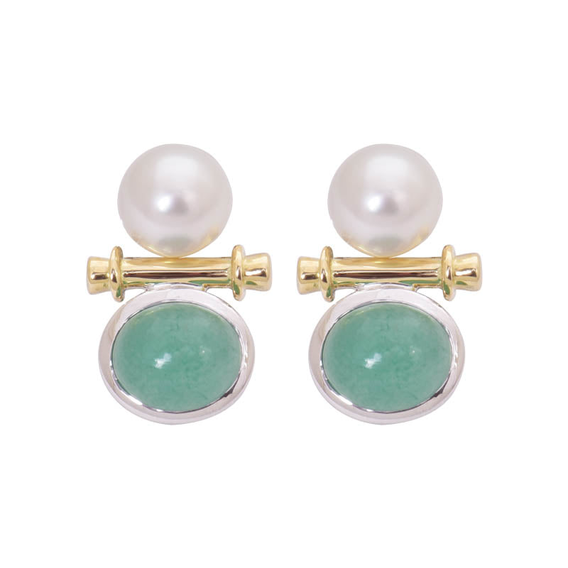 EARRINGS- AVENTURINE AND S.S. PEARL IN GOLD AND SILVER