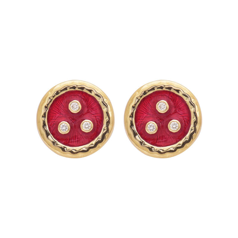 EARRINGS- DIAMOND (ENAMEL) IN SILVER AND GOLD