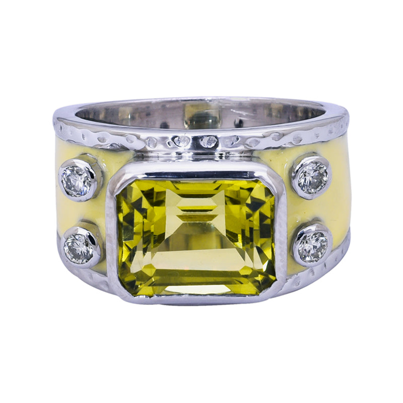 Ring- Lemon Quartz and Diamond (Enamel)
