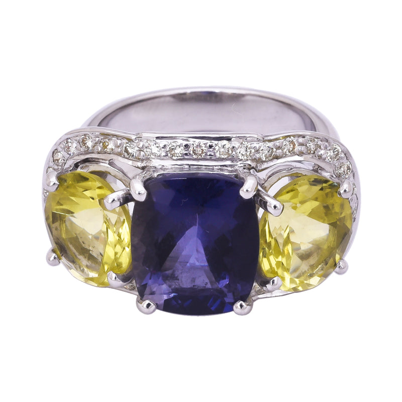 Ring- Lemon Quartz, Iolite and Diamond